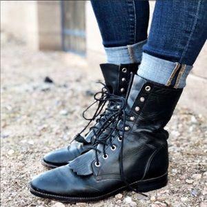 Justin Black Leather Lace Up Boots Sz 8 D